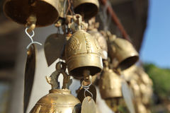 Buddhist bells with wishes Stock Photo