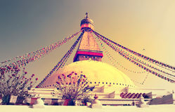 Buddhist Boudhanath Stupa in Kathmandu, Nepal . Stock Photo