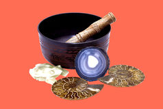 Buddhist bowl with a wooden stick for cleaning the space stone f Royalty Free Stock Photography