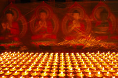 Buddhist butter lamps royalty free stock image