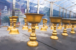 Buddhist butter lamps in temple Royalty Free Stock Photography