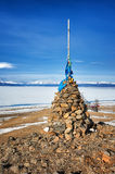 Buddhist cairn of clastic rocks Royalty Free Stock Photos
