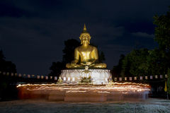 Buddhist came to celebrate with candle Royalty Free Stock Photos