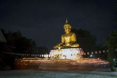 Buddhist came to celebrate in important Buddha's day Stock Photo