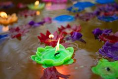 Buddhist Candle light Wish for good luck in Wat Si Suphan temple. In Chiangmai province royalty free stock photos