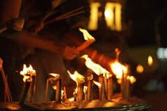 Buddhist candles Royalty Free Stock Photography