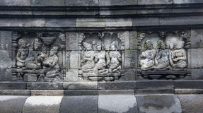 Buddhist Carving Arts wall at in Borobudur Temple, Yogyakarta, I Stock Photos