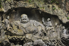 Buddhist carvings in Feilai Feng Caves Stock Images