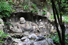 Buddhist carvings in Feilai Feng Caves. Hangzhou, China stock photos