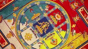 Buddhist ceiling with mandala painting stock video