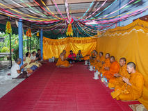 Buddhist ceremony philanthropy offer food alms to monk. Buddhist ceremony philanthropy offer food alms to monk at Nhong Nam Keaw village, Banbung, Chonburi stock images