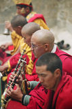 Buddhist ceremony, Spiti. Young monks playing puja music in Ki monastery Stock Image