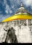 Buddhist chedi with elephant Royalty Free Stock Photos