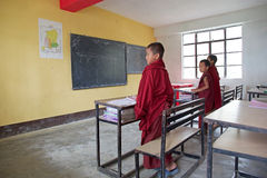 Buddhist children at the Labrang Gompa , Sikkim, India Stock Image