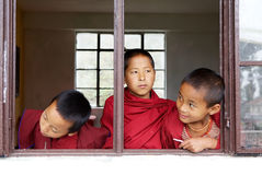 Buddhist children at the Labrang Gompa , Sikkim, India Royalty Free Stock Photo