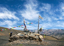 Buddhist chorten on a pass in Dolpo, Nepal Royalty Free Stock Image