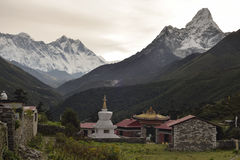 Buddhist Chorten and Tengboche monastery from Himalaya. Nepal Stock Image
