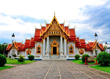 Buddhist church. Church of Wat Benchamabopit and the way to get to Royalty Free Stock Image