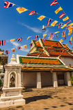Buddhist Church with Flags Decoration. Before Yearly Celebration, Bangkok Stock Images