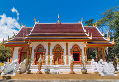 Buddhist church with Northern of Thailand Art Design. Royalty Free Stock Photos