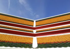 Buddhist church roof in temple in Thailand. Asia Stock Photo