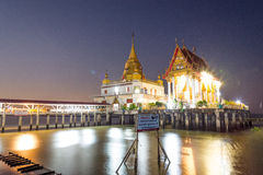Buddhist church in sea. Buddhist church and pagoda in the sea, The temple named Wat Hong Thong mean golden swanlake temple in Chachoengsao province with royalty free stock photo