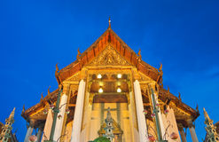Buddhist church under twilight sky Royalty Free Stock Photo