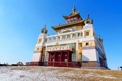 Buddhist complex Golden Abode of Buddha Shakyamuni in spring. Elista. Russia. Buddhist complex Golden Abode of Buddha Shakyamuni in spring. Elista. Kalmykia royalty free stock image