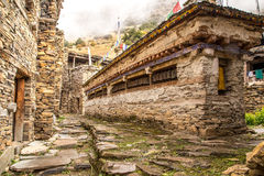 Buddhist construction for praying wheels. Old town Ghyaru, Annapurna, Himalaya, Nepal Stock Photography