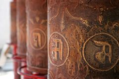 Buddhist Copper Drums royalty free stock images