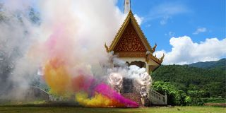 Buddhist cremation. Fireworks during buddhist cremation in buddhist temple stock images