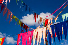 Buddhist decoration flags Royalty Free Stock Photo