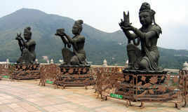 Buddhist deities. Three statues of Boddisathvas in Hong Kong Royalty Free Stock Images