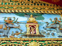 Buddhist Details. Detail from the outside decoration of a buddhist temple in Vientiane, Laos Stock Image