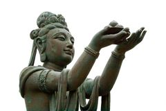 Buddhist Deva statue. Buddhist statue at Po Lin Monastery, Hong Kong. Isolated Stock Image