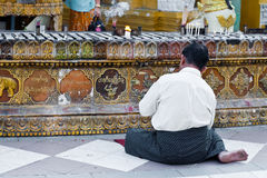 Buddhist devotee praying at the full moon festiva Royalty Free Stock Photo