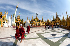 Buddhist devotees at the full moon festival Royalty Free Stock Photography