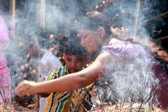 Buddhist devotees at Raja Maha Vihara Stock Photography