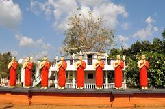Buddhist Disciple statues at a temple in Sri Lanka Stock Photography
