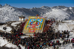 Buddhist event. Each of the first month of Tibetan Buddhism to the Council will hold a grand event. During this period, Gansu and Qinghai, Sichuan, Tibet and Stock Photography