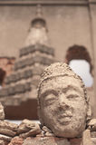 Buddhist face on historical temple at Sungkraburi, Thailand Stock Image