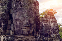 Buddhist faces Bayon Temple, Angkor wat. Royalty Free Stock Image