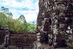 Buddhist faces Bayon Temple, Angkor wat. Royalty Free Stock Photos