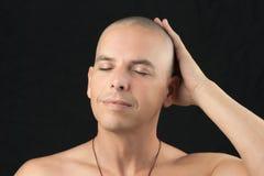 Buddhist Feels Shaved Head Stock Photos