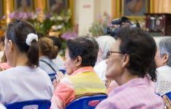 Buddhist female gather to listen to Dhamma Stock Photo