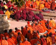 Buddhist Festival. Photographed during the January Buddhist gathering in Bodhgaya, India (the place where Buddha attained supreme Enlightenment under the Bodhi Stock Photo