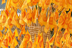Buddhist flag. In thai temple Stock Photography