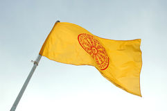 Buddhist flag. In thai temple Royalty Free Stock Photography