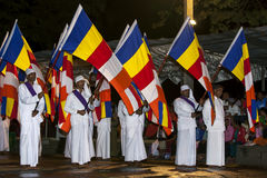 Buddhist flag bearers parade through the streets of Kandy during the Esala Perahera in Sri Lanka. Stock Image