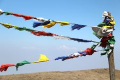 Buddhist flag& x27;s on himalaya. Mountain landscape from nepal royalty free stock image